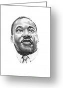 Famous People Drawings Greeting Cards - Dr. Martin Luther King Greeting Card by Murphy Elliott