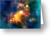 Flares Greeting Cards - Draconian Nebula Greeting Card by Corey Ford