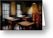Cabinet Room Greeting Cards - Draftsman - The Drafting room Greeting Card by Mike Savad