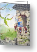Dragons Greeting Cards - Dragon Above the Castle Wall Greeting Card by Cathy Cleveland