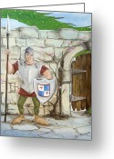 Knights Castle Painting Greeting Cards - Dragon Behind the Castle Wall Greeting Card by Cathy Cleveland