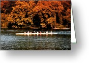 Rowing Crew Greeting Cards - Dragon Boat on the Schuylkill Greeting Card by Bill Cannon