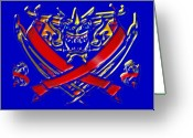 Knights Greeting Cards - Dragon Club Flag Greeting Card by Garry Staranchuk