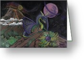 Magic Pastels Greeting Cards - Dragon Dreamz Greeting Card by Robin Hewitt
