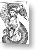 Maiden Drawings Greeting Cards - Dragon Maiden  Greeting Card by Andy  Estevez