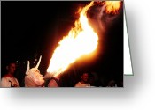 Pyrotechnics Greeting Cards - Dragon man Greeting Card by Agusti Pardo Rossello