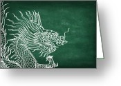 Cheerful Greeting Cards - Dragon On Chalkboard Greeting Card by Setsiri Silapasuwanchai