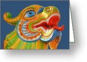 Dragons Greeting Cards - Dragon on Teal Greeting Card by DiDi Higginbotham