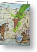 Dragons Greeting Cards - Dragon Over the Castle Wall Greeting Card by Cathy Cleveland