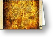 Old Paper Greeting Cards - Dragon painting on old paper Greeting Card by Setsiri Silapasuwanchai
