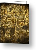 Gold Mixed Media Greeting Cards - Dragon Pattern Greeting Card by Setsiri Silapasuwanchai