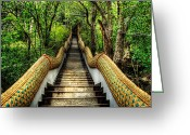 Steps Digital Art Greeting Cards - Dragon Steps Greeting Card by Adrian Evans