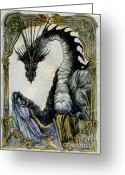 Fantasy Creature Greeting Cards - Dragon Tal Git Greeting Card by Morgan Fitzsimons