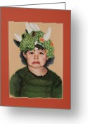 Little Boy Pastels Greeting Cards - Dragon Tears Greeting Card by Gayle  George