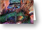 Crayon Painting Greeting Cards - Dragon Under The Hill Greeting Card by Jane Tripp