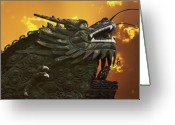 Dragons Greeting Cards - Dragon Wall - Yu Garden Shanghai Greeting Card by Christine Till