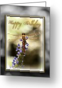 Birthday Card Greeting Cards - Dragonfly Birthday Card Greeting Card by Carolyn Marshall