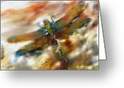 Colorful Tapestries Textiles Greeting Cards - Dragonfly Greeting Card by Bob Salo