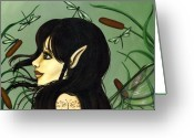 Dragonfly Greeting Cards - Dragonfly Fairy 5 Greeting Card by Elaina  Wagner