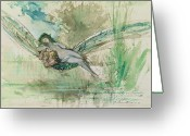 Mythology Surrealism Greeting Cards - Dragonfly Greeting Card by Gustave Moreau