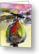 Ginette Fine Art Llc Ginette Callaway Greeting Cards - Dragonfly on Flower Bud Watercolor Greeting Card by Ginette Fine Art LLC Ginette Callaway