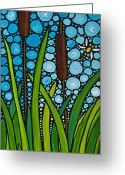 Lilly Pad Painting Greeting Cards - Dragonfly Pond Greeting Card by Sharon Cummings