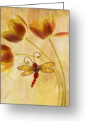 Dragonfly Greeting Cards - Dragonfly Tulips Greeting Card by Rebecca Cozart