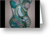 Lilies Sculpture Greeting Cards - Dragonfly Water Lily Torso Greeting Card by Lee Bell