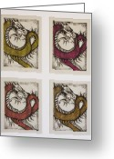 Dragons Greeting Cards - Dragons Greeting Card by Emily Kemp