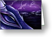 Purple Painting Greeting Cards - Dragons Of Amethyst Coast Greeting Card by Elaina  Wagner