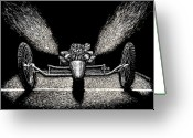 Hot Rod Drawings Greeting Cards - Dragstar Greeting Card by Bomonster