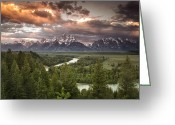 River. Clouds Greeting Cards - Dramatic Clouds over the Tetons Greeting Card by Andrew Soundarajan