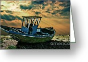 Fishing Boat Greeting Cards - Dramatic Dungeness Greeting Card by Meirion Matthias
