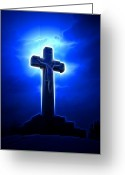 Christ Greeting Cards - Dramatic Jesus Crucifixion Greeting Card by Pamela Johnson
