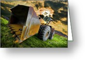 Stormy Sky Greeting Cards - Dramatic Loader Greeting Card by Meirion Matthias