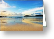 Reflection Photo Greeting Cards - Dramatic Scene Of Sunset On The Beach Greeting Card by Setsiri Silapasuwanchai