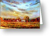 Autumn In The Country Painting Greeting Cards - Dramatic Skies Quebec In October Autumn Landscape In The Laurentians  Greeting Card by Carole Spandau