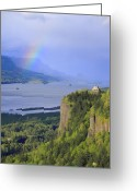 Occurrence Greeting Cards - Dramatic sky and rainbow on the Columbia Gorge OR. Greeting Card by Gino Rigucci