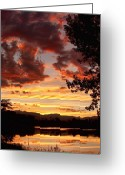 Landscape Posters Greeting Cards - Dramatic Sunset Reflection Greeting Card by James Bo Insogna