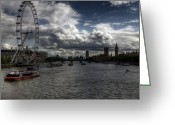 River. Clouds Greeting Cards - Dramatic Thames Greeting Card by Vicki Jauron