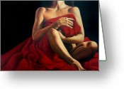Woman Painting Greeting Cards - Draped in Red Greeting Card by Trisha Lambi