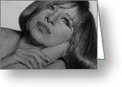 Hyper-realism Drawings Greeting Cards - Drawing of Barbra Streisand SUPER HIGH RES  Greeting Card by Mark Montana