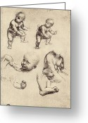 Vinci Greeting Cards - Drawings Of A Child Greeting Card by Sheila Terry