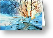 Winter Art Greeting Cards - Drawn To The Sun Greeting Card by Hanne Lore Koehler