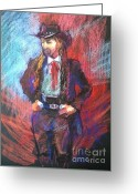 Cowboy Pastels Greeting Cards - Dreadlock Cowboy Greeting Card by Pamela Pretty