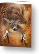 Scene Mixed Media Greeting Cards - Dream Catcher - Autumn Deer Greeting Card by Carol Cavalaris