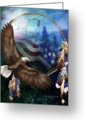 Eagle Art Greeting Cards - Dream Catcher - Freedoms Flight Greeting Card by Carol Cavalaris