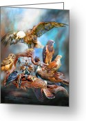 Eagle Art Greeting Cards - Dream Catcher - Spirit Birds Greeting Card by Carol Cavalaris