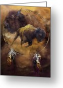 Buffalo Mixed Media Greeting Cards - Dream Catcher - Spirit Of The Brown Buffalo Greeting Card by Carol Cavalaris