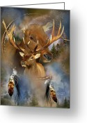 Animal Art Giclee Mixed Media Greeting Cards - Dream Catcher - Spirit Of The Elk Greeting Card by Carol Cavalaris